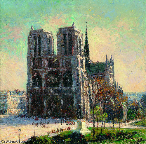 Order Oil Painting : View of Notre Dame Paris, 1911 by Gustave Loiseau (1865-1935, France) | WahooArt.com