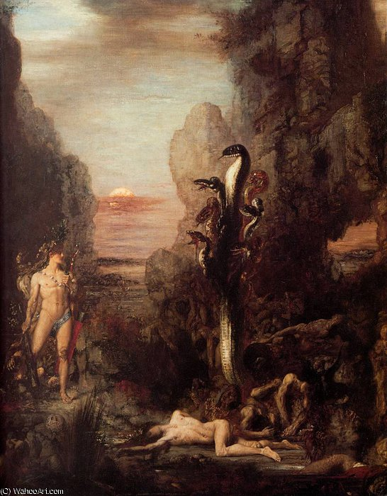 Hercules and the Hydra, 1876 by Gustave Moreau (1826-1898, France) | Famous Paintings Reproductions | WahooArt.com