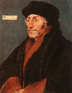Hans Holbein The Younger - Erasmus of Rotterdam - oil on wood
