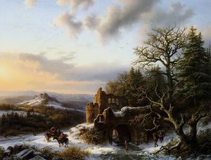 Hendrik Barend Koekkoek - Winterlandscap with ruin