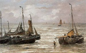 Hendrik Willem Mesdag - Back at the beach Sun