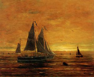 Hendrik Willem Mesdag - boats at dusk sun