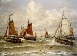 Hendrik Willem Mesdag - fishing fleet at scheveningen sun