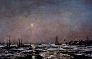 Hendrik Willem Mesdag - ice on the river sun