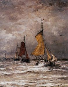 Hendrik Willem Mesdag - Return fishing ships Sun