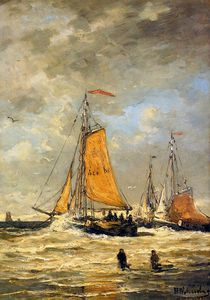Hendrik Willem Mesdag - sailing pinks at scheveningen sun