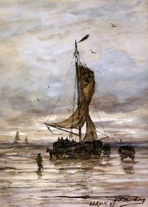 Order Art Reproductions | ship sun by Hendrik Willem Mesdag (1831-1915, Netherlands) | WahooArt.com
