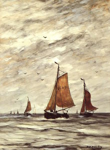 Hendrik Willem Mesdag - Ships at sea Sun
