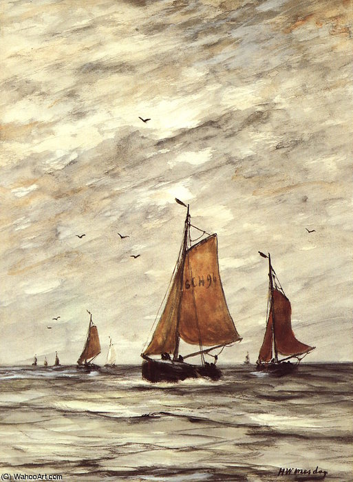 Order Paintings Reproductions | Ships at sea Sun by Hendrik Willem Mesdag (1831-1915, Netherlands) | WahooArt.com