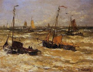 Hendrik Willem Mesdag - ships for anchor sun