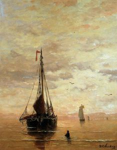 Hendrik Willem Mesdag - ships on a calm sea near the coast sun