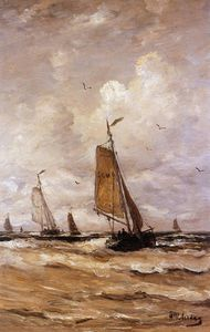 Hendrik Willem Mesdag - Ships on a choppy sea Sun