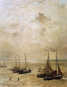 Hendrik Willem Mesdag - winding the anchor sun