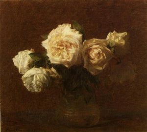 Henri Fantin Latour - Yellow Pink Roses in a Glass Vase