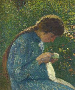 Henri Jean Guillaume Martin - a young woman sewing