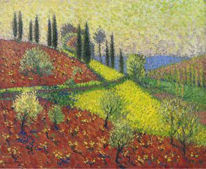 Henri Jean Guillaume Martin - Cyprus Trees on the Hill