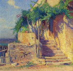 Henri Jean Guillaume Martin - House with Vine and Staircase