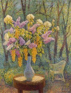 Henri Jean Guillaume Martin - Vase of Flowers in a Garden