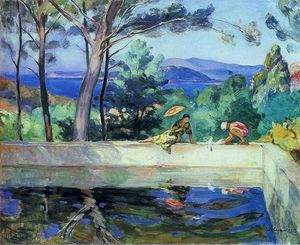 Henri Lebasque - Blue Reflection in the Fountain at Pradet