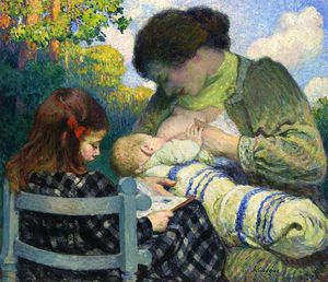 Henri Lebasque - Motherhood Madame Lebasque and Her Children