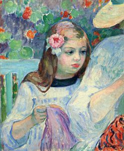 Henri Lebasque - the sewing lesson (detail) -