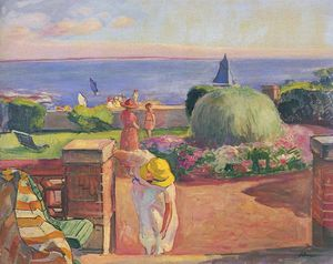 Henri Lebasque - The Terrace at Prefailles