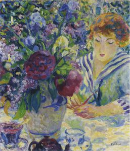 Henri Lebasque - Woman with a Vase of Flowers