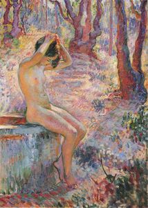 Henri Lebasque - Young Girl by Fountain
