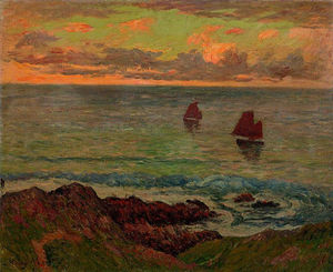 Henri Moret - Evening at Doelan