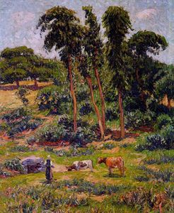 Henri Moret - Peasant and Her Herd