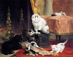 Henriette Ronner Knip - kittens playing with a fan sun