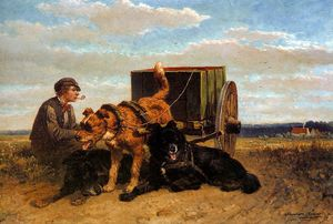 Henriette Ronner Knip - man with dog cart sun