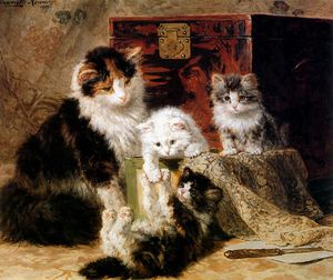 Henriette Ronner Knip - mothercat with playing kittens sun