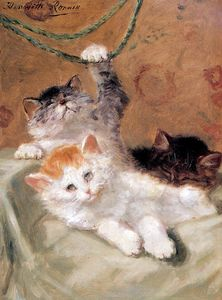 Henriette Ronner Knip - three kittens playing sun