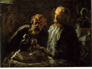 Honoré Daumier - Two sculptors - oil on wood