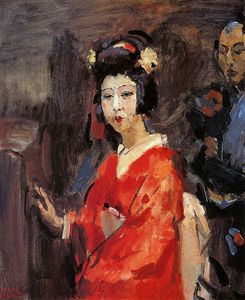 Isaac Lazarus Israels - Japanese woman in red kimono Sun