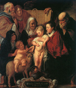 Jacob Jordaens - The Holy Family with St Anne The Young Baptist and his Parents