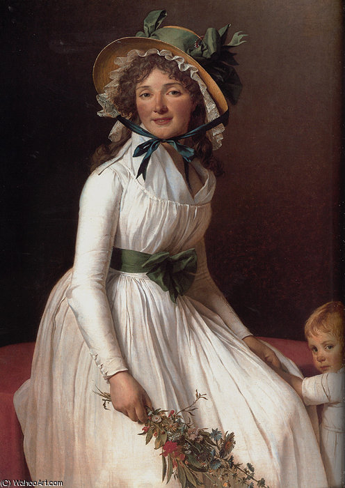 Portrait of Emilie Serizait and Her Son by Jacques Louis David (1748-1800, France)
