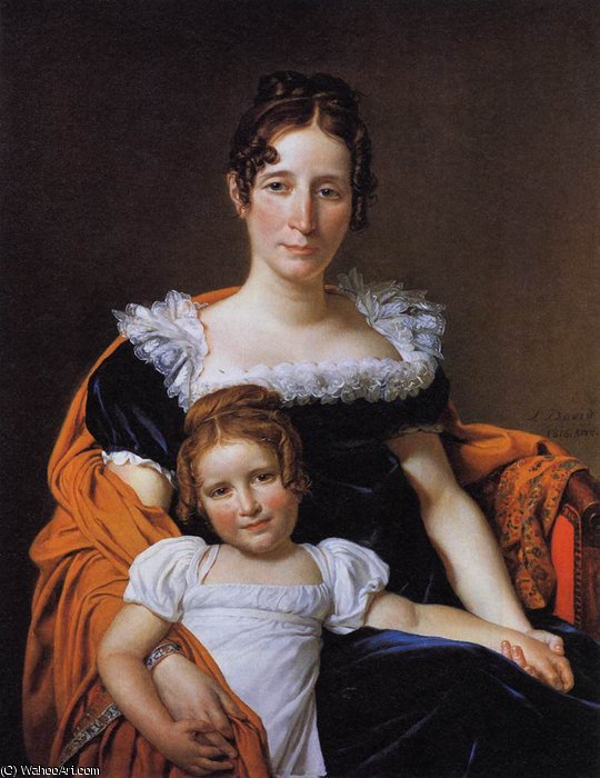 Portrait of the Comtesse Vilain XIIII and her Daughter by Jacques Louis David (1748-1800, France)