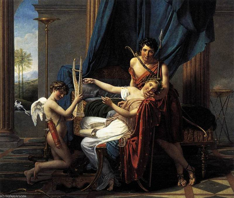 Sappho and Phaon by Jacques Louis David (1748-1800, France) | Museum Art Reproductions Jacques Louis David | WahooArt.com