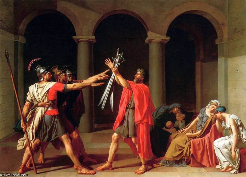 The Oath of the Horatii by Jacques Louis David (1748-1800, France) | Art Reproduction | WahooArt.com