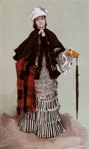 James Jacques Joseph Tissot - a lady in a black and white dress