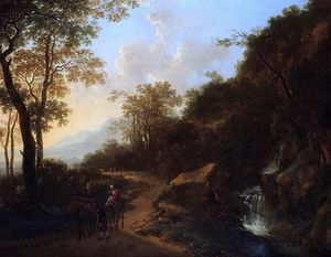 Jan Both - a mountainous italianate landscape with travellers