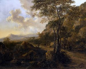 Jan Both - An Italianate Landscape with Travellers