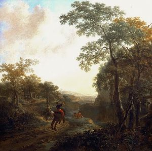 Jan Both - Italian Landscape with Horsemen