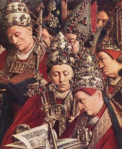 Jan Van Eyck - The Ghent Altarpiece Adoration of the Lamb (detail bottom right)
