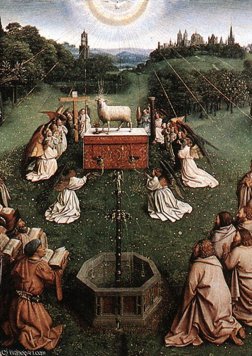 The Ghent Altarpiece Adoration of the Lamb (detail centre) by Jan Van Eyck (1390-1441, Netherlands)