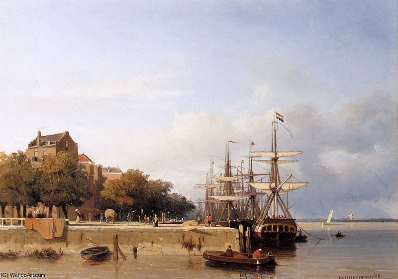 Ships on a quay Sun by Jan Weissenbruch (1824-1903, Netherlands) | Art Reproductions Jan Weissenbruch | WahooArt.com