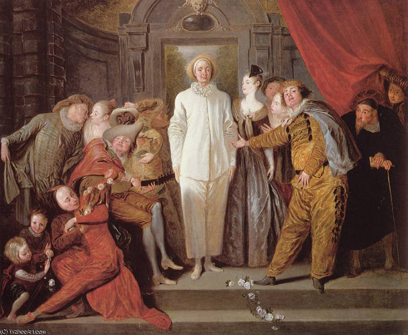 Les Comediens italiens by Jean Antoine Watteau (1684-1721, France) | Famous Paintings Reproductions | WahooArt.com