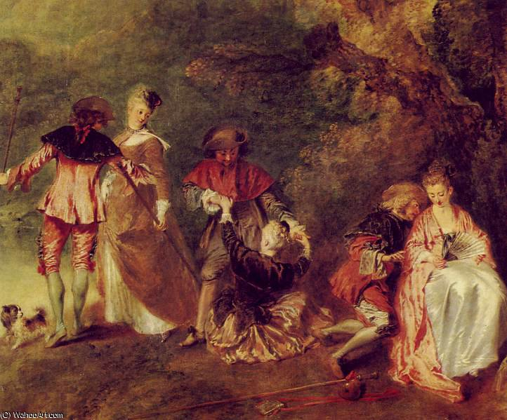 The Embarkation for Cythera (detail) -, 1717 by Jean Antoine Watteau (1684-1721, France) | Art Reproduction | WahooArt.com